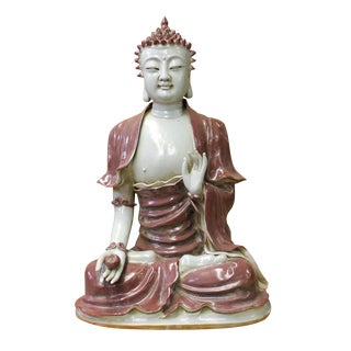 Vintage Chinese Sitting Buddha With Bowl Statue