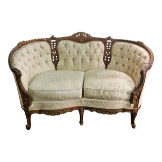 Vintage French Provincial Ornately Carved Small Settee Sofa Couch