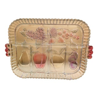Mid-Century Modern Clear Glass Fruit Tray