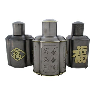 Pewter & Brass Flasks - Set of 3