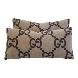"23"" X 11"" Custom Designer Gucci Cashmere & Velvet Feather/Down Pillows - Pair"