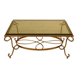 Glass Top & Gold Iron Base Coffee Table