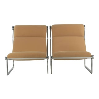 1970s Vintage Hannah Morrison for Knoll Aluminum Sling Lounge Chairs - a Pair