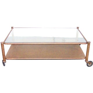 Industrial Victorian Metal and Glass Coffee Table