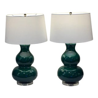 Emerald Green Table Lamps - A Pair