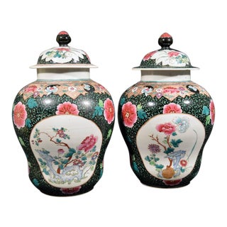 A Pair of Chinese Export Famille Rose Porcelain Baluster Vases & Covers