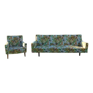 Mid-Century Floral Sofa and Chair