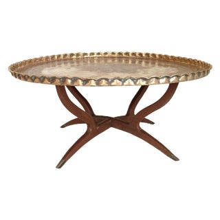 Vintage Moroccan Brass Tray Table