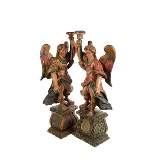 17th Century Venetian Polychrome & Giltwood Angel Torchères - A Pair