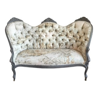 Victorian Reupholstered & Restored Walnut Settee