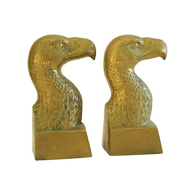 Patriotic 1960s Brass Bald Eagle Bookends - Image 6 of 6