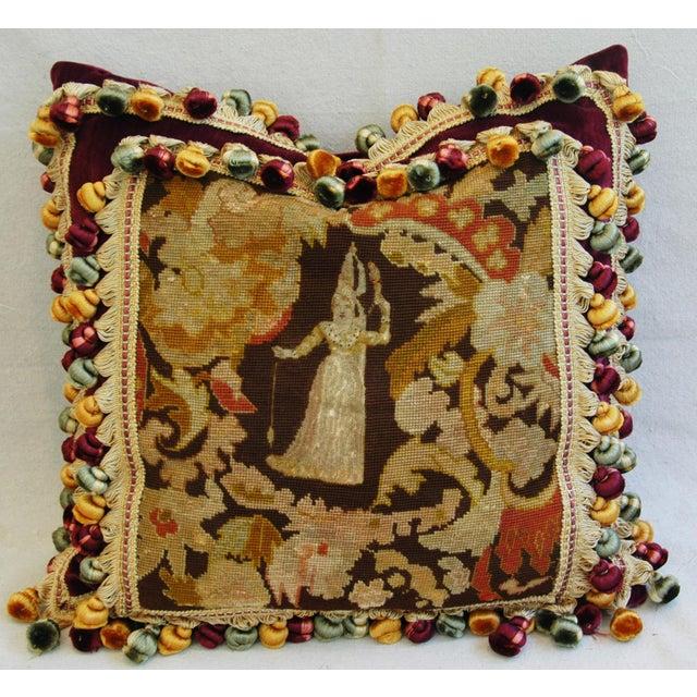 Image of Custom Antique French Needlepoint & Velvet Pillow