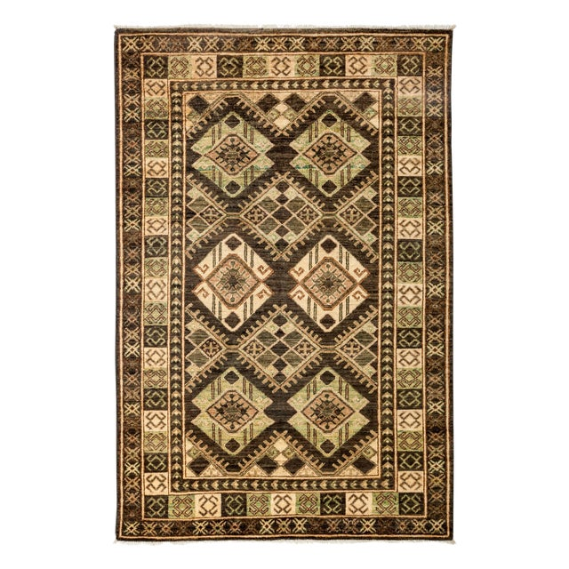 """New Tribal Traditional Hand Knotted Area Rug - 4'2"""" x 5'10"""" - Image 1 of 3"""