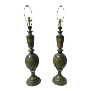 Mid-Century Green & Gold Table Lamps - A Pair