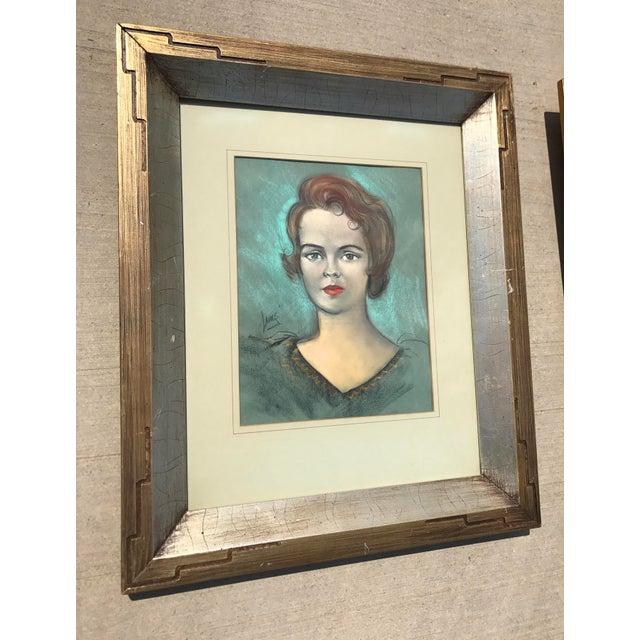 Vintage Chalk Pastels Female Portrait Drawing - Image 3 of 9