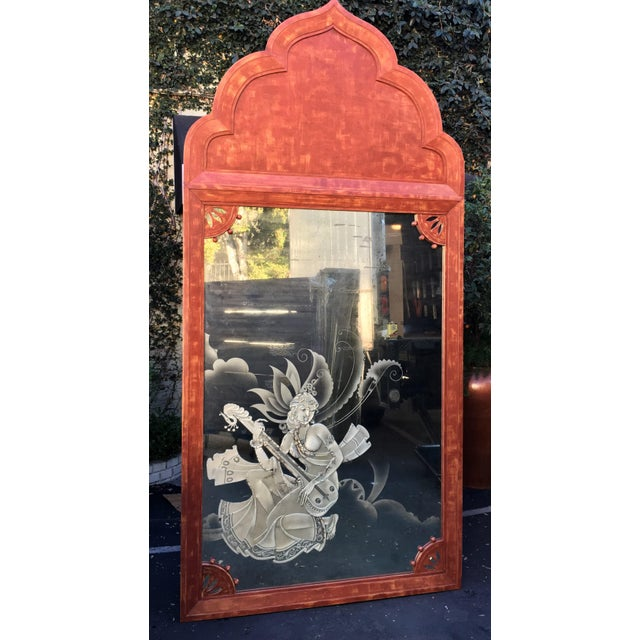 Huge Mid 20th Century Tony Duquette Red Bombay India Mirror - Image 3 of 5