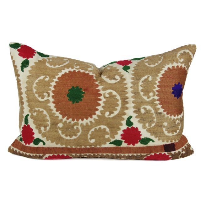 Brown Vintage Suzani Jewel Pillow - Image 1 of 3