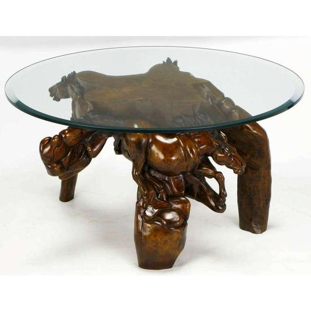 Image of Incredible Equine Carved Wood Coffee Table