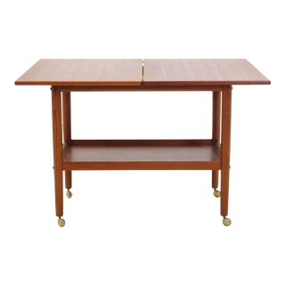 Grete Jalk Teak Serving Cart or Bar Trolley, Expandable Top