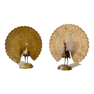 Pair of Vintage Brass Peacock Bookends