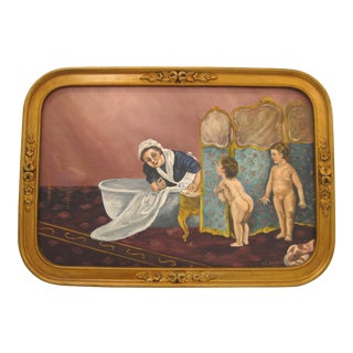 """Vintage """"BathTime"""" Oil Painting"""