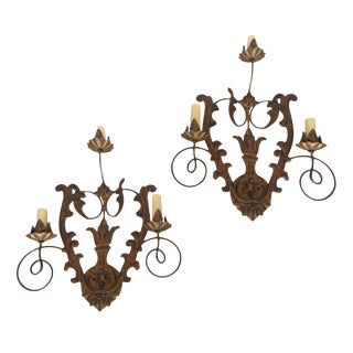 Bronzed Filigree 3-Light Sconces - A Pair