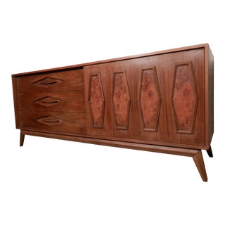 Mid-Century Modern Long Dresser with Sliding Door