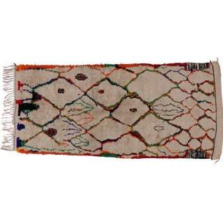 Berber Moroccan Runner with Tribal Design - 4'4 x 9'5