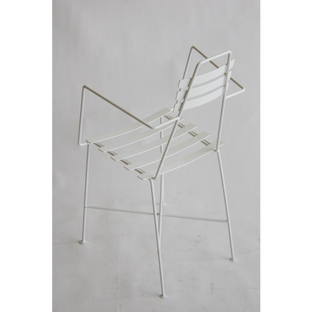 Image of Mid-Century Slatted Wrought Iron Chair