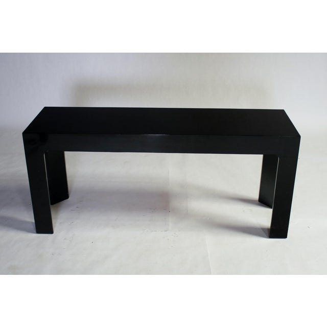 Parson Style Black Lacquered Console Table and Benches - Image 5 of 11