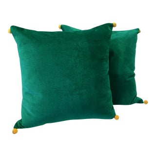 Green & Saffron Velvet Pom Pillows - A Pair