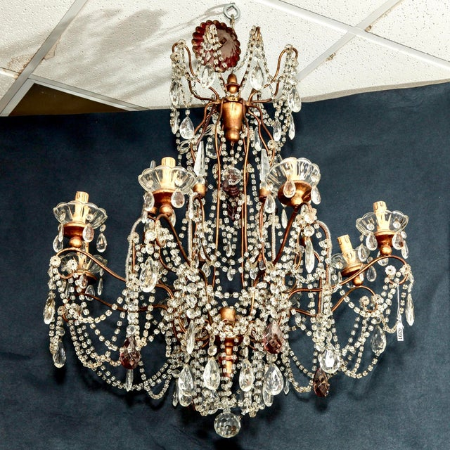 Classic Eight Light Italian Crystal Chandelier With Gilt Wood Bobeches - Image 2 of 6