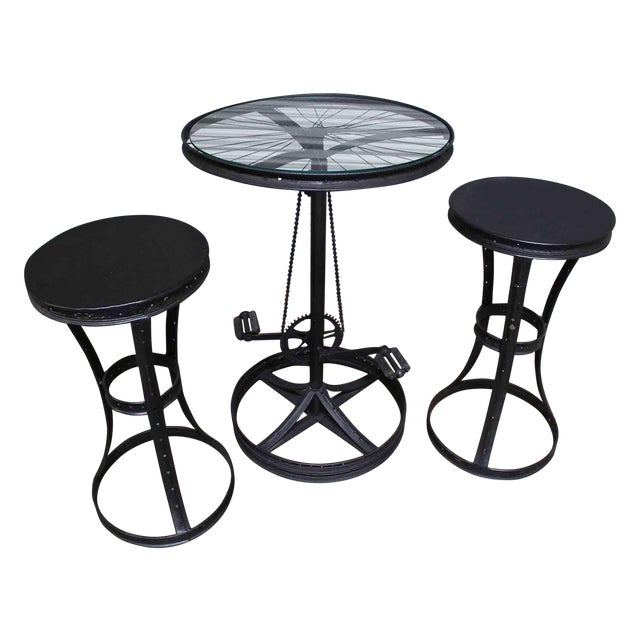 Glass Top Metal Bicycle Bar with Stools Set - Set of 3 - Image 1 of 5