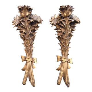 Gilded Plaster Floral Sconces - A Pair