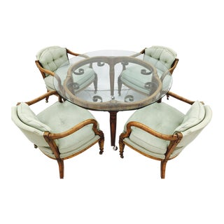 Vintage Mid Century Glass Top Table Dining Set