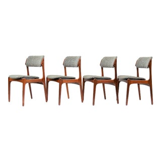 Erik Buch Mobler Danish Modern Solid Teak Wood Upholstered Dining Chairs-Set of 4 Mid Century MCM
