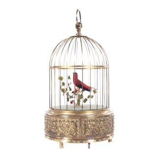 Red Bird Singing in Cage German Brass Music Box