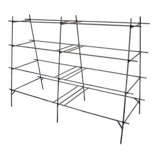 Industrial Modern Iron Rebar Shelf Rusty Yellow Display Bookcase Bookshelf Rack