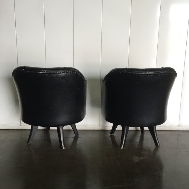 Image of Monteverdi Style Mid-Century Tufted Chesterfield Swivel Chairs- A Pair