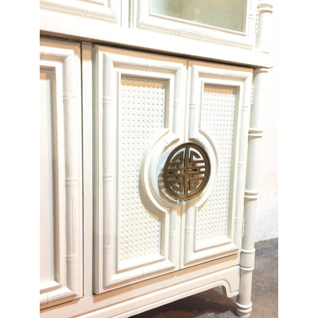 Chinoiserie Faux Bamboo Painted China Cabinet - Image 9 of 10