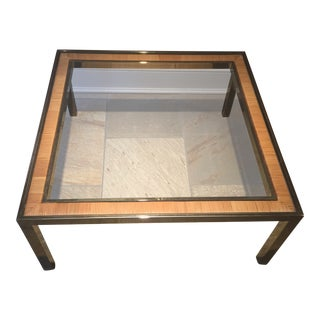 Vintage Brass & Rattan Square Coffee Table