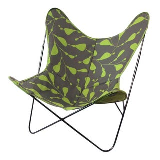 Butterfly Chair in Green/Gray Graphic Pattern
