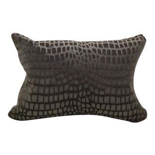 Lee Jofa Brown/Graphite/Blue Crocodile Velvet Lumbar Pillow