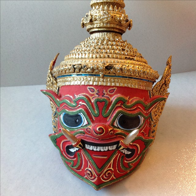 Antique Thai Demon Khon Mask - Image 3 of 11