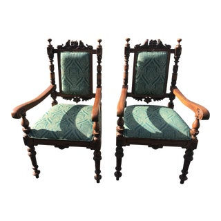 Vintage Tuscany Style Hand Carved Chairs - A Pair