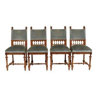 1880s Mechelen Belgium Henry II-Style Chairs, S/4