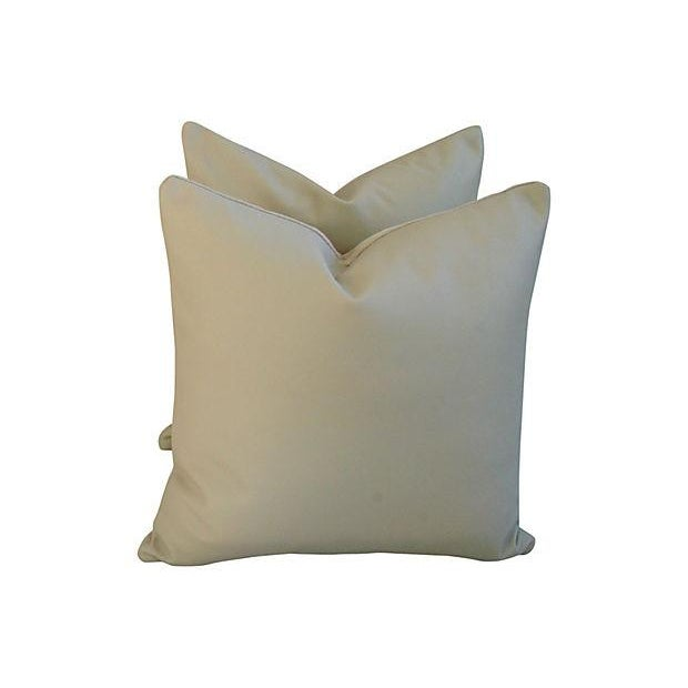 Image of Genuine Italian Sandy Putty Leather Pillows - Pair