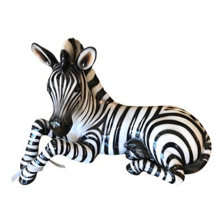 Large Ceramic Decorative Zebra Figure