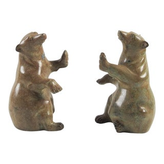 Cast Metal Bear Bookends - A Pair