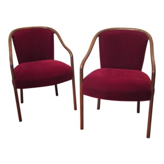 Ward Bennett Red Mohair Armchairs - A Pair